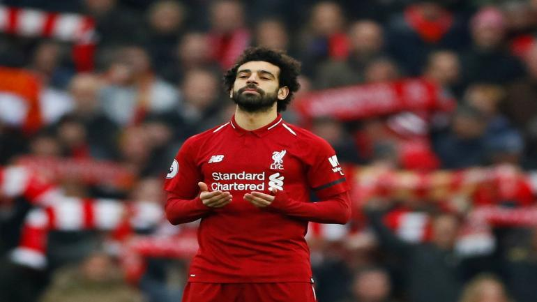 """Soccer Football - Premier League - Liverpool v Crystal Palace - Anfield, Liverpool, Britain - January 19, 2019 Liverpool's Mohamed Salah before the match Action Images via Reuters/Jason Cairnduff EDITORIAL USE ONLY. No use with unauthorized audio, video, data, fixture lists, club/league logos or """"live"""" services. Online in-match use limited to 75 images, no video emulation. No use in betting, games or single club/league/player publications. Please contact your account representative for further details."""