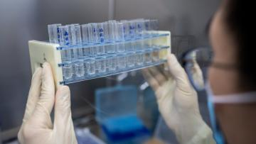 (FILES) In this file picture taken on April 29, 2020, an engineer works at the Quality Control Laboratory on an experimental vaccine for the COVID-19 coronavirus at the Sinovac Biotech facilities in Beijing. - The global death toll from the coronavirus pandemic topped a quarter of a million on May 5, 2020, with the US government predicting a further surge in fatalities as an international vaccine drive garnered 8 billion USD in pledges. (Photo by NICOLAS ASFOURI / AFP)