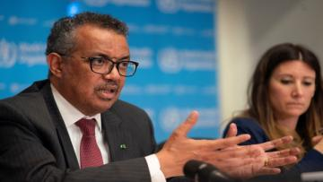 Director-General of World Health Organization (WHO) Tedros Adhanom Ghebreyesus attends a news conference on the outbreak of the coronavirus disease (COVID-19) in Geneva, Switzerland, March 16, 2020. Christopher Black/WHO/Handout via REUTERS ATTENTION EDITORS - THIS IMAGE WAS PROVIDED BY A THIRD PARTY