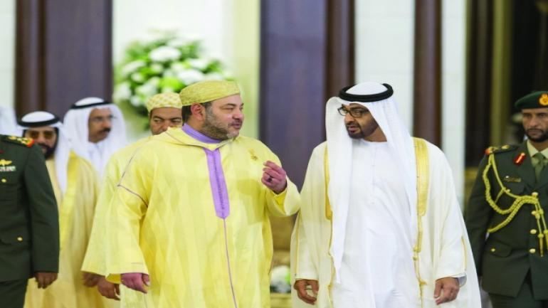 ABU DHABI, UNITED ARAB EMIRATES - May 04, 2015: HH Sheikh Mohamed bin Zayed Al Nahyan Crown Prince of Abu Dhabi and Deputy Supreme Commander of the UAE Armed Forces (centre R) receives HM King Mohammed VI of Morocco (centre L) at Mushrif Palace. ( Ryan Carter / Crown Prince Court - Abu Dhabi ) ---