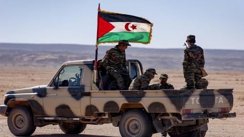"""MEHAIRES, WESTERN SAHARA - JANUARY 06: Military units from the Arab Democratic Republic Saharawi waiting for the beginning of the the manoeuvres in the fourth military region in the north-east of Western Sahara on January 6, 2019 in Mehaires, Western Sahara. The manoeuvres, under the name of Shahid Uali involve around 3,000 soldiers and a dozen armoured vehicles, and are designed to protect the region and maintain stability in the freed Saharawi territories. Morocco considers these military manoeuvres as a """"threat"""" to the ceasefire in force between the parties since 1991. (Photo by Stefano Montesi - Corbis/Corbis via Getty Images)"""