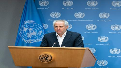 UNITED NATIONS HEADQUATERS, NEW YORK, UNITED STATES - 2019/08/08: Daily press briefing by the Spokesperson for the Secretary-General Stephane Dujarric at United Nations Headquarters. (Photo by Lev Radin/Pacific Press/LightRocket via Getty Images)