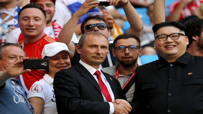 SAMARA, RUSSIA - JUNE 25: Kim Jong-un and Valdimir Putin's lookalikes are seen prior to the 2018 FIFA World Cup Russia group A match between Uruguay and Russia at Samara Arena on June 25, 2018 in Samara, Russia. (Photo by Maddie Meyer/Getty Images)