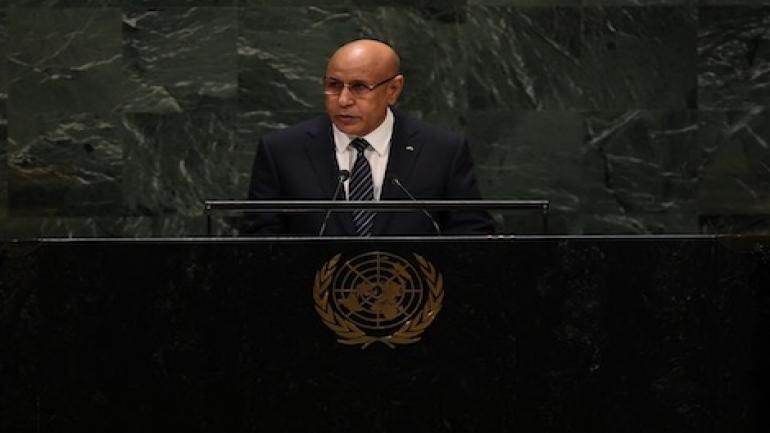 President of Mauritania Mohamed Ould Cheikh El Ghazouani speaks during the 74th Session of the General Assembly at the United Nations headquarters in New York on September 25, 2019 in New York. (Photo by TIMOTHY A. CLARY / AFP)