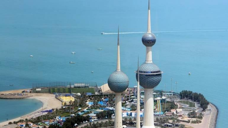 A picture taken on April 3, 2018 from the top of al-Hamra Tower shows a view of the Kuwait towers. / AFP PHOTO / YASSER AL-ZAYYAT (Photo credit should read YASSER AL-ZAYYAT/AFP via Getty Images)