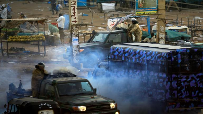 A tear gas canister fired to disperse Sudanese demonstrators, during anti-government protests in the outskirts of Khartoum, Sudan January 15, 2019. REUTERS/Mohamed Nureldin Abdallah